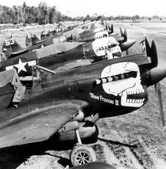 "Curtiss P-40N Warhawks of the 80th Fighter Group's squadron ""The Burma Banshees"" (via)"