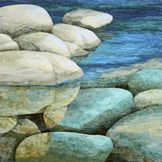 Lake Tahoe Fabric Collage by Merle Axelrad Serlin, Sacramento artist (and my sister!)