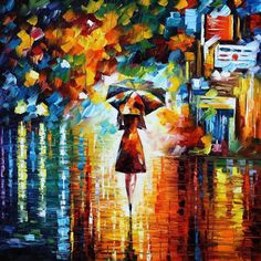 Rain Princess — PALETTE KNIFE Oil Painting On Canvas by Leonid Afremov, $149.00