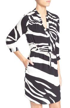 NWT $398 Diane Von Furstenberg Freya Zebra Stripe Silk Tie Waist Shirt Dress 2  #DVF #BlousonShirtDressTunic #Cocktail