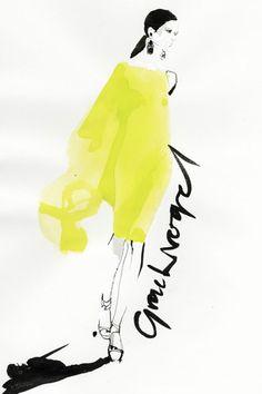 Maria Grachvogel show - illustration by David Downton Vogue.com UK