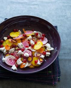 Raw Beet & Carrot Salad with Goat Cheese & Currants