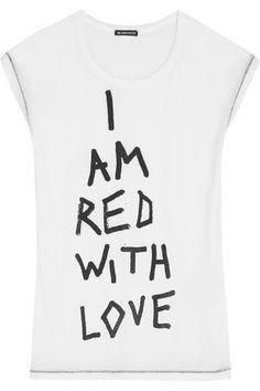 2fa4aea40e68 Ann Demeulemeester - Printed Cotton-jersey T-shirt - White
