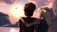 Hiccup and Astrid watching the beautiful sunset as they watched Heather leave from Dreamworks Dragons: Race to the Edge