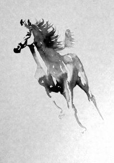DESSIN galop cheval encre gris Animaux Encre de Chine - cheval