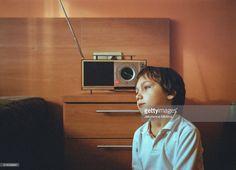 Stock Photo : Boy listening to the radio