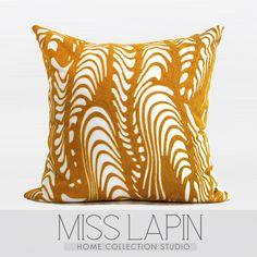 MISS LAPIN/北欧极简/样板房/沙发床头/黄色扭曲波纹绣花方枕-淘宝网