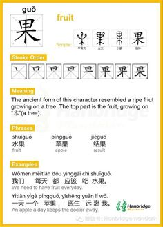 "Hanbridge Mandarin Study Card--Chinese character ""果"", the common phrase is ""苹果"" (apple)"