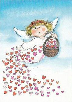 Virpi Pekkala I have a valentine's angel😇 Art Fantaisiste, I Believe In Angels, Angels Among Us, Angel Pictures, Angel Art, Whimsical Art, Cherub, Love Heart, Cute Art