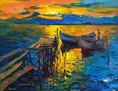 Original Oil Painting-Seascape 26x20 Landscape by IvailoNikolov