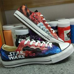 Star Wars Design Black Converse All Star Hand Painted Shoes