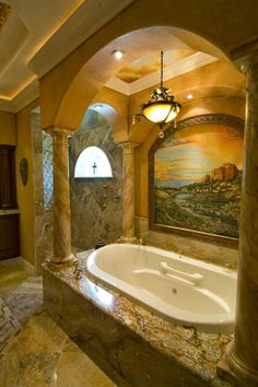 Tuscan-Style Bathing Area Features Rich, Earthy Tones