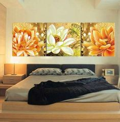 Living Room Canvas Prints, Living Room Art, Wood Wall Art, Canvas Wall Art, Decoration, Art Decor, 3 Piece Wall Art, Acrylic Painting Lessons, Arte Floral