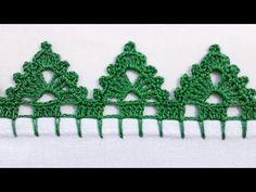 Bico em crochê pinheirinho - YouTube Crochet Edging Patterns, Crochet Lace Edging, Crochet Borders, Lace Patterns, Crochet Designs, Filet Crochet, Crochet Geek, Crochet Baby, Crochet Dreamcatcher
