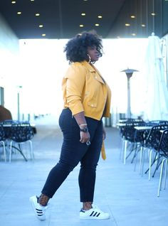 611064c88c4 Plus size yellow moto jacket outfit SUPPLECHIC