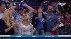 Tampa Bay Lightning Fan Checks Out His Date's Assets as She Jumps For Joy | FatManWriting