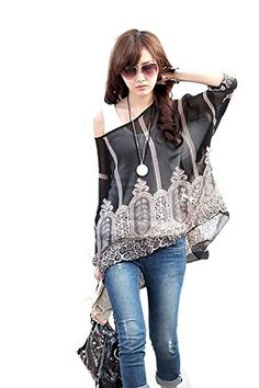 7ca05dfa332 Landove Womens Casual Beach Batwing Seelve Floral Printed Chiffon Tunic Poncho  Top     Find out more about the great product at the image link.