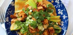 Grilled tofu in peanut and coconut sauce Grilled Tofu, Coconut Sauce, Peanut Recipes, Fresh Coriander, Vegetarian Recipes, Grilling, Chicken, Peanuts, Ethnic Recipes