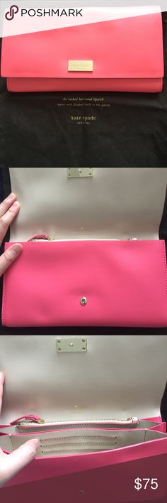Kate Spade Coral Pink Clutch Never used coral clutch form Kate Spade. Great for Summer! kate spade Bags Clutches & Wristlets