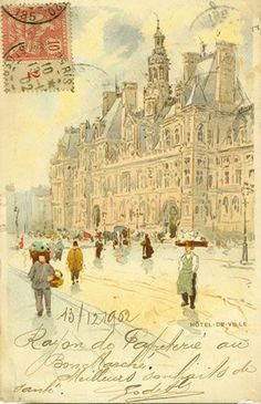Princess and countess Olivia Vorbarra Vorkosigan often hand-painted postcards for her children and friends. This is a watercolour of street vendors in Vorbarr Sultana (Henri Cassiers Paris Postcard)
