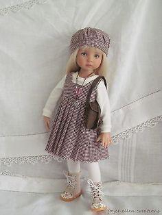 """13"""" Effner Little Darling BJD school daze dress OOAK handmade by JEC"""