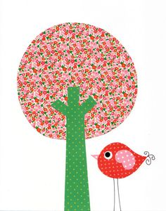 Green Pink Love Tree Nursery Artwork Print by 3000yardsofthread