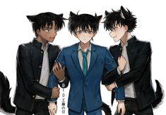 detective coan kaito x shinichi x heiji Conan Comics, Detektif Conan, Anime Couple Kiss, Detective Conan Shinichi, Detective Conan Wallpapers, Kaito Kid, One Piece Comic, Kudo Shinichi, Pusheen Cat