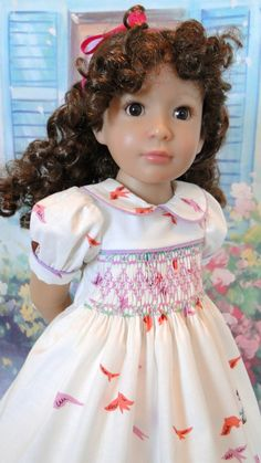 Smocked dress for Kidz N Cats doll by dancingwithneedles on Etsy