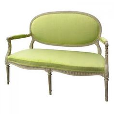 19th c. Louis XVI style French settee upholsted in a Zesty Green fabric...