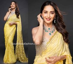 Madhuri Dixit taped an episode of Dance Deewane wearing a yellow embellished saree paired with gold fringed blouse by Manish Malhotra. Diamond emerald necklace set from Farah Khan World and loose curls rounded out her look! Crepe Silk Sarees, Chanderi Silk Saree, Organza Saree, Art Silk Sarees, Georgette Sarees, Fancy Sarees, Party Wear Sarees, Wedding Silk Saree, Bridal Sarees