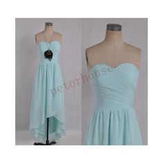Light Blue Hilow Bridesmaid Dresses Prom Dresses Simple Party Dresses... ($82) ❤ liked on Polyvore featuring dresses, black, women's clothing, light blue prom dresses, chiffon prom dresses, homecoming dresses, light blue bridesmaid dresses and black prom dresses