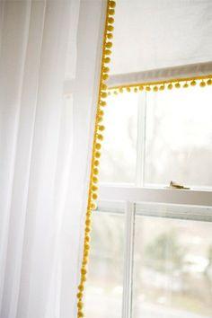 pom pom trim - add to basic curtains for A's new room? Pom Pom Curtains, White Curtains, Plain Curtains, Fringe Curtains, Patterned Curtains, Layered Curtains, Purple Curtains, Double Curtains, Floral Curtains