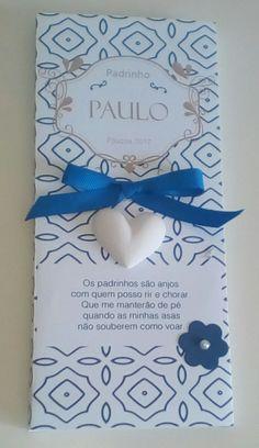 Chocolate Personalizado – Chocolate Porto Chocolate Leite de 125gr – Embalagem de papel personalizada com coração de gesso perfumado.