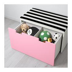 STUVA Säilytyspenkki - valkoinen/roosa - IKEA