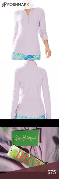 "Lilly Pulitzer Half Zip ""Iced Lilac"" color. Made with Lilly's softest Luxletic fabric, the Lilly Pulitzer Luxletic Weekender Half-Zip Pullover in Iced Lilac is sure to delight. Pair with your favorite printed Luxletic bottoms to finish the look. Melange Half-Zip Shirred Raglan Sleeves Jacket Weight Powerstretch (53% Nylon66 38% Polyester 9% Lycra) Machine Wash Cold. This is SO soft!!! I have it in a larger size and I could live in it lol. xxs but has a lot of stretch. Lilly Pulitzer Sweaters"
