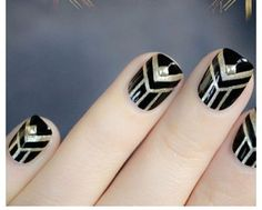 Art deco nail design, black and gold Nail Art Designs, French Nail Designs, Nails Design, Shellac Designs, How To Do Nails, Fun Nails, Pretty Nails, French Nails, French Manicures