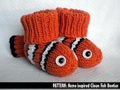 Fun Baby Bootie Knitting Patterns on Bluprint Nemo the Clownfish Baby Booties Knitting Pattern Oh my!Nemo the Clownfish Baby Booties Knitting Pattern Oh my! Baby Booties Knitting Pattern, Crochet Baby Booties, Knit Or Crochet, Baby Knitting Patterns, Knitting Socks, Crochet Patterns, Crochet Toys, Knitting For Kids, Knitting Projects