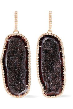 "Each one-of-a-kind piece that Kimberly McDonald designs ""carries a story and invites connection."" Handcrafted from 18-karat rose gold, these stunning drop earrings are set with deep red geodes that have a unique quartz-like appearance. We especially like how the 1.93-carats of diamonds emphasize their raw, organic shape."