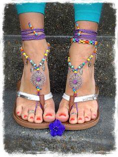 Purple SUNFLOWER BAREFOOT Sandals Hippie FESTIVAL von GPyoga, $79.00