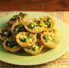 Spinach and feta phyllo cups, a quick and easy appetizer.