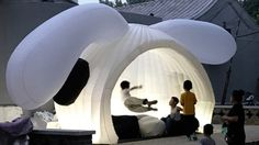 For this year's Beijing Design Week, local architecture studio MAD has created an inflatable pavilion with two big floppy ears Beijing, Character Curtains, Rabbit Head, Giant Rabbit, Temporary Structures, Lounge Design, Courtyard House, Public Art, Public Spaces