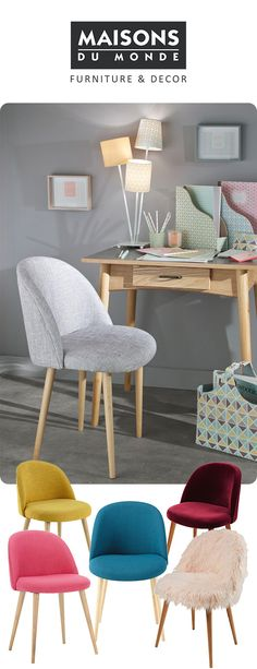 The Mauricette dining chair from Maisons Du Monde comes in 19 colour and design options from super luxe faux fur and velvet in plush jewel tones to bold and retro inspired tones that will add a bright splash of colour to your room.
