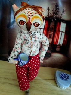 Owldoll IV by Ululé - With fire in her eyes OOAK