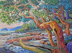 Greta Guzek embraces the spirit of the West Coast. Her intricate designs and vivid colours have become a distinct feature of her artwork, which has gained wide appeal across Canada. Abstract Landscape, Landscape Paintings, Ocean Paintings, Landscapes, Arbutus Tree, Tree Artwork, Canadian Artists, Japanese Art, Painting Inspiration
