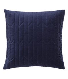Dark blue. Cushion cover in cotton velvet with quilted front section and concealed zip.