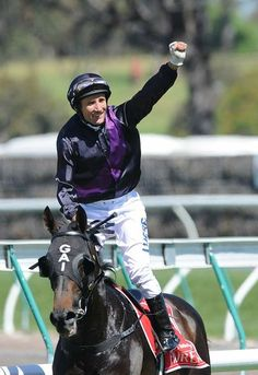 Fiorente (IRE) ridden by jockey Damien Oliver wins the Melbourne Cup at Flemington for trainer Gai Waterhouse - This is Damien's 3rd Cup and was an inspired ride.