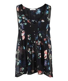Look what I found on #zulily! Navy Floral V-Neck Top #zulilyfinds