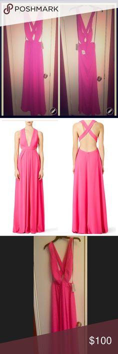 Jill Jill Stuart gossip pink Maxi Dress sz 10 NWT Hi this is a brand new Jill Stuart dress bought at Nordstrom for a wedding in Miami. It's a size ten, and too big for me now that I've recently lost weight. True to size. They offer this exact dress on rent the runway to see more details and pictures. Pictured is dress with a camera flash, stock photo, and regular pic without flash. Jill Stuart Dresses Maxi