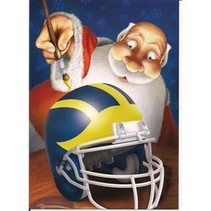 Christmas Spirit University of Michigan Christmas Cards- Santa Painting Michigan Athletics, University Of Michigan, Michigan Wolverines, Michigan Go Blue, Santa Paintings, Sports Equipment, Tis The Season, Football Helmets, Athlete