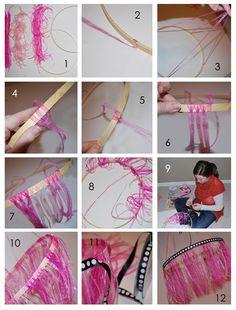 DIY: ribbon chandelier tutorial. #DIY #chandelier #baby #nursery